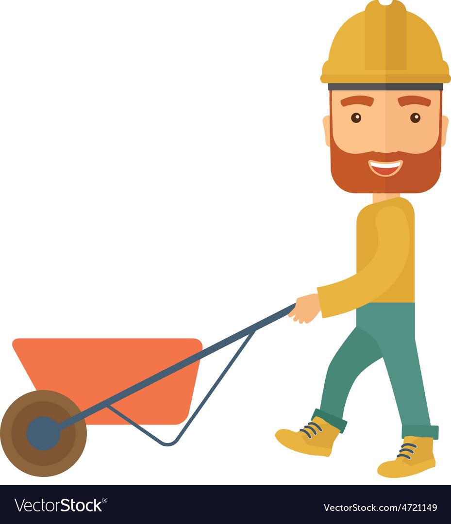 Gardener pushing a wheelbarrow vector | Price: 1 Credit (USD $1)