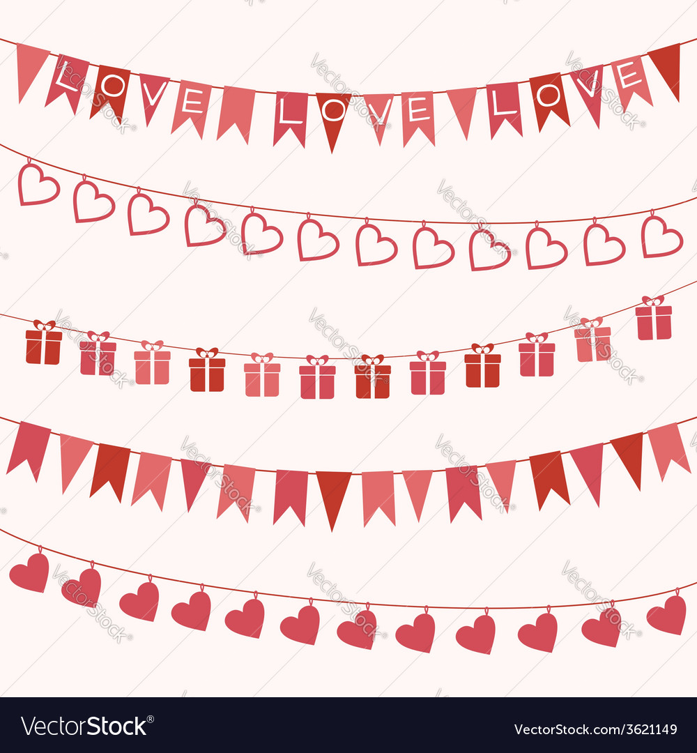 Garlands for valentines day or wedding vector | Price: 1 Credit (USD $1)