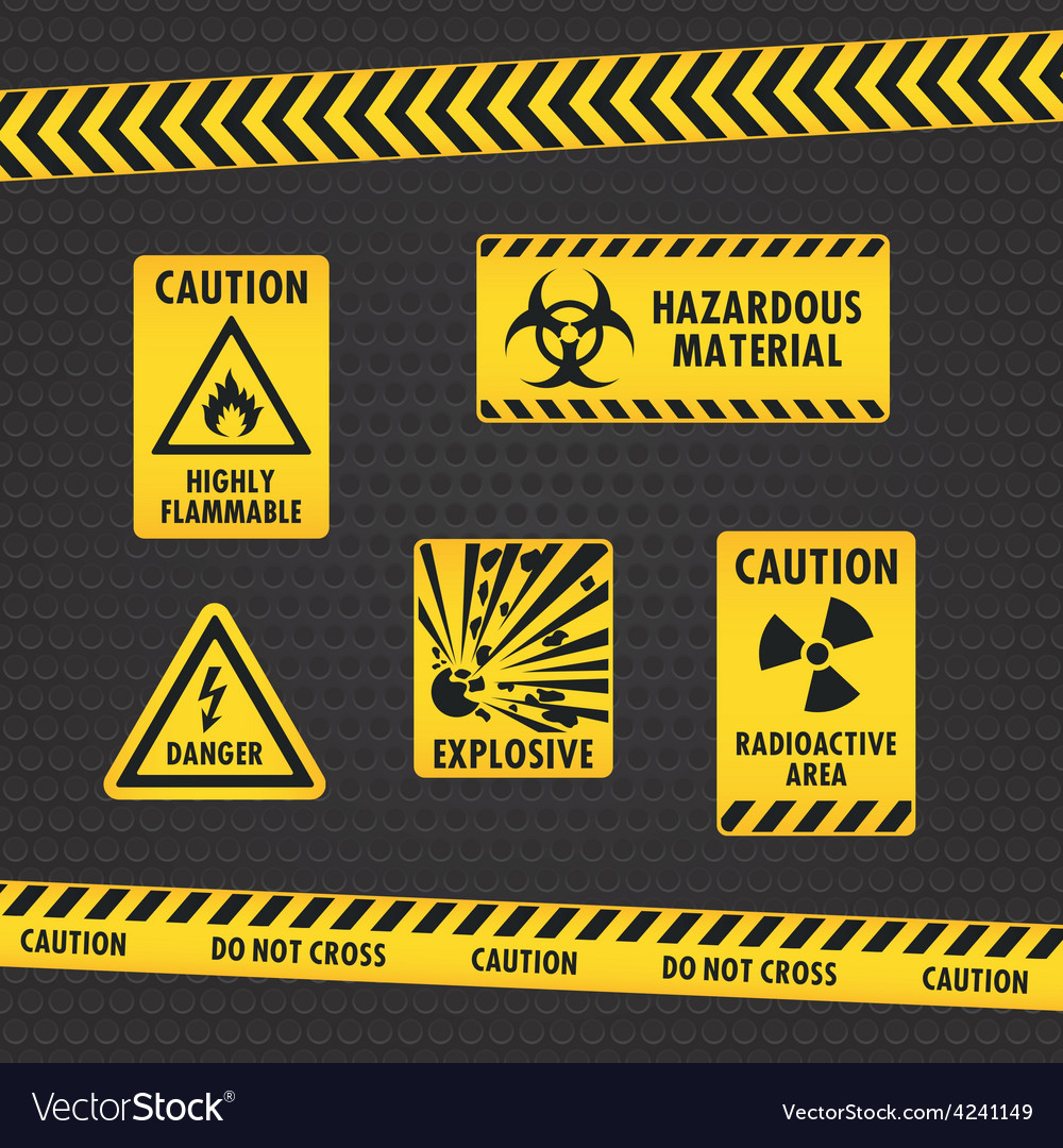 Hazard warning tape and labels vector | Price: 1 Credit (USD $1)