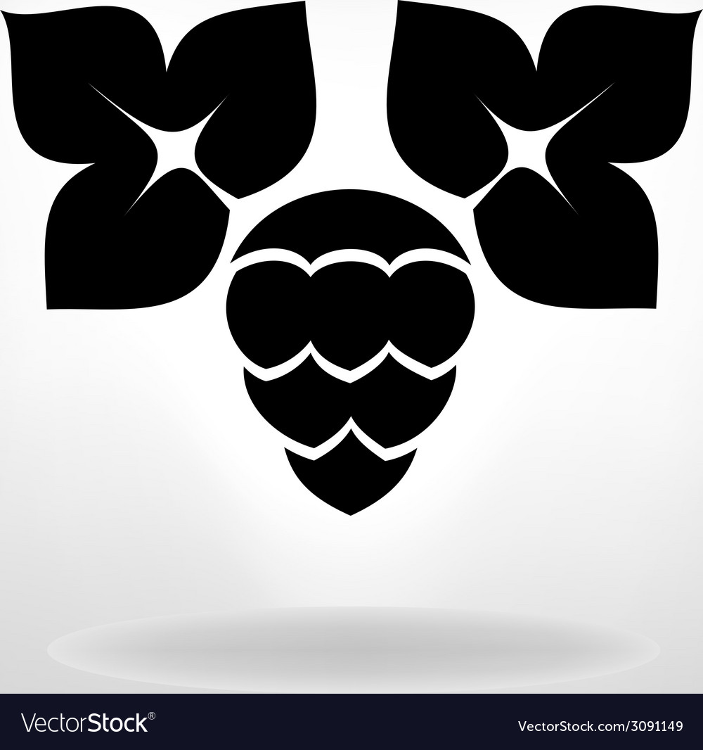 Hop plant with leafs simbol vector   Price: 1 Credit (USD $1)