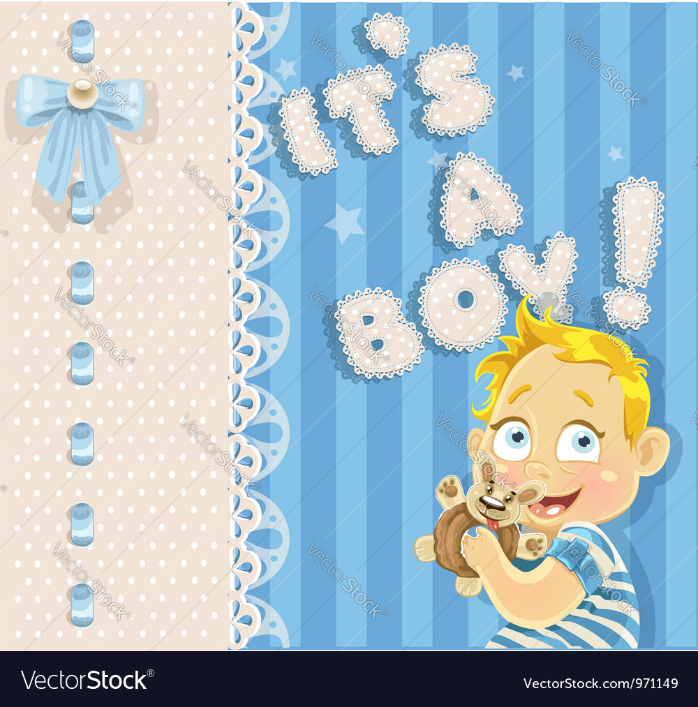 Its a boy blue openwork announcement card vector | Price: 3 Credit (USD $3)