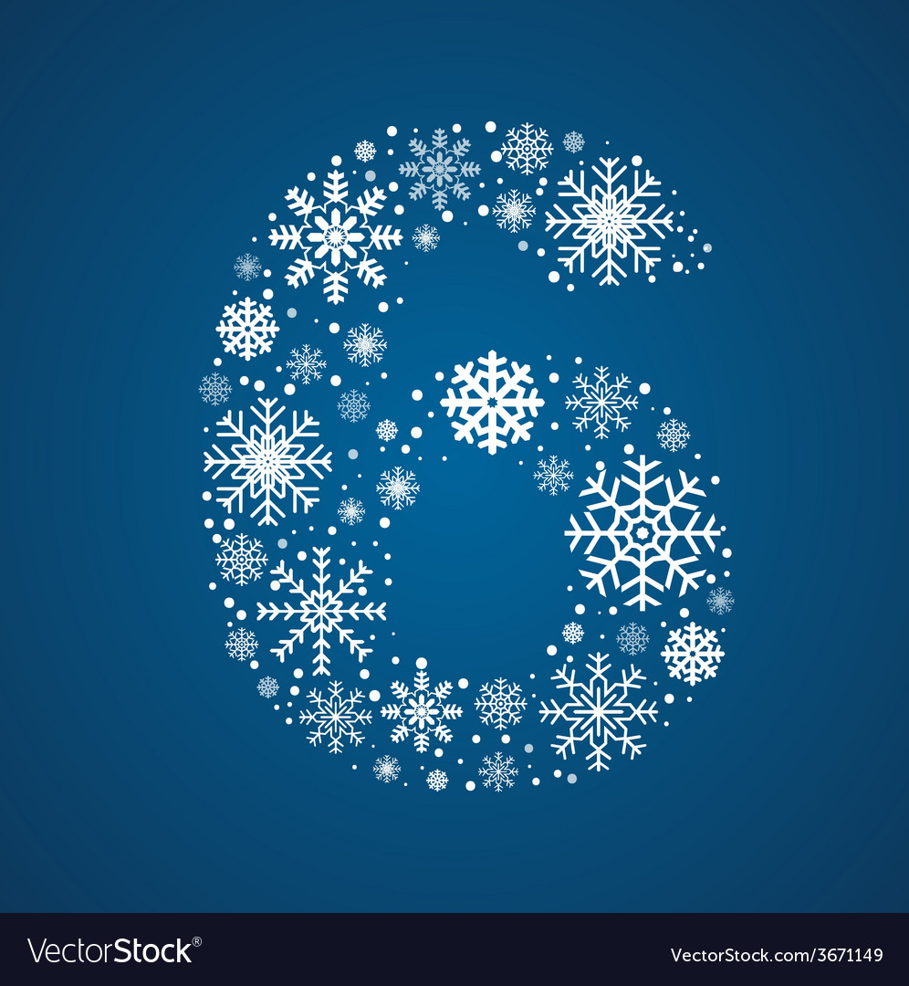 Number 6 font frosty snowflakes vector | Price: 1 Credit (USD $1)