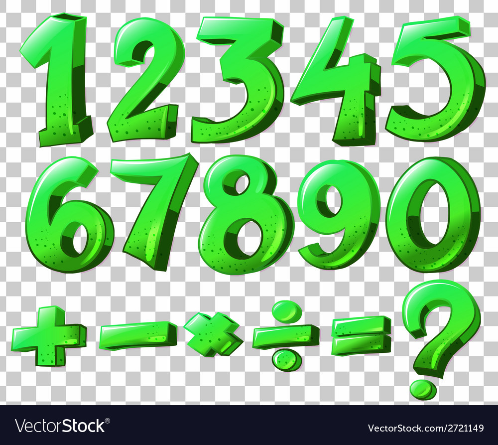 Numbers in green color vector | Price: 1 Credit (USD $1)
