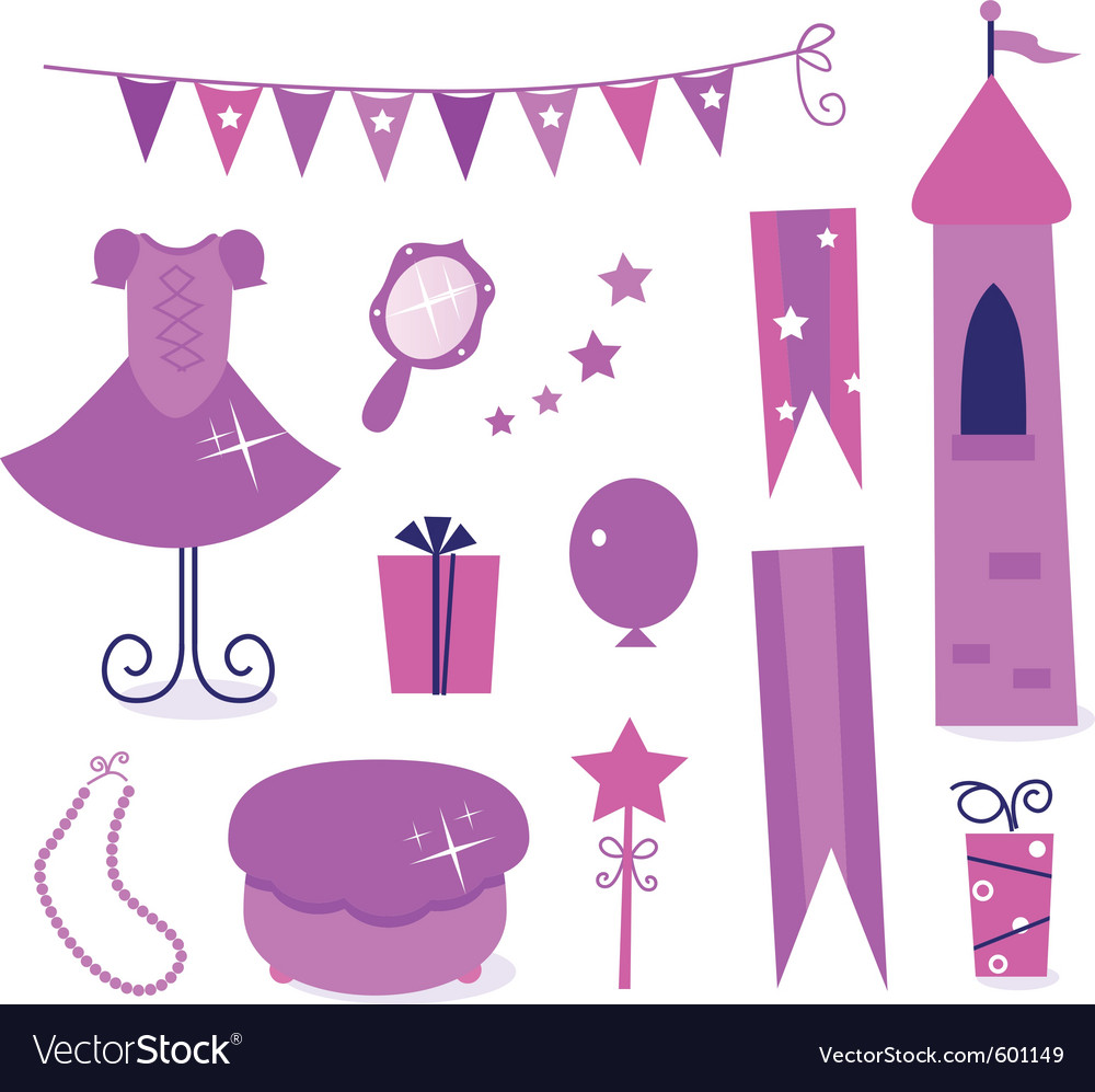 Princess party elements vector | Price: 1 Credit (USD $1)