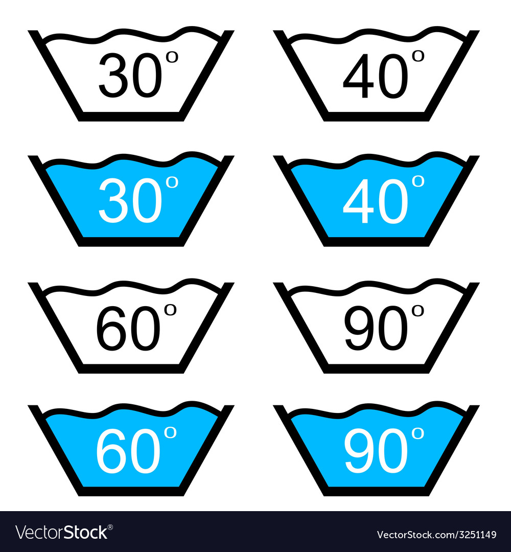 Set of washing sign vector | Price: 1 Credit (USD $1)