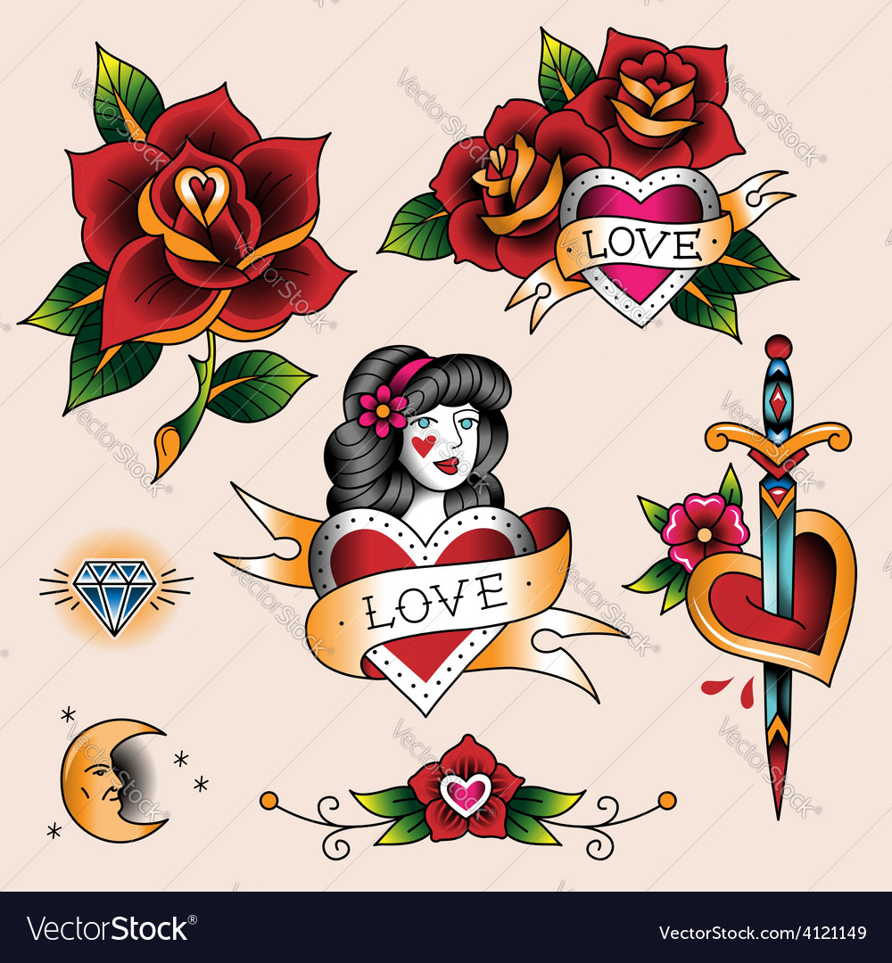 Tattoo set love vector | Price: 1 Credit (USD $1)