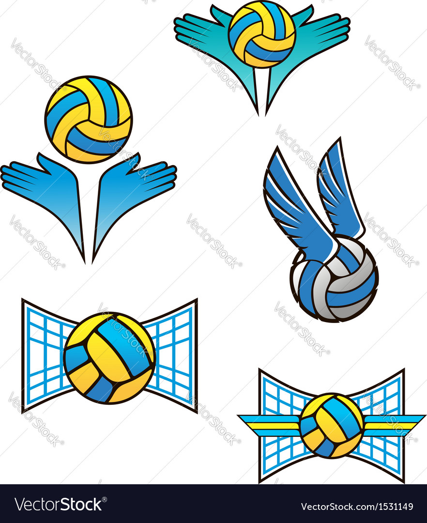 Volleyball sports symbols and icons vector | Price: 3 Credit (USD $3)