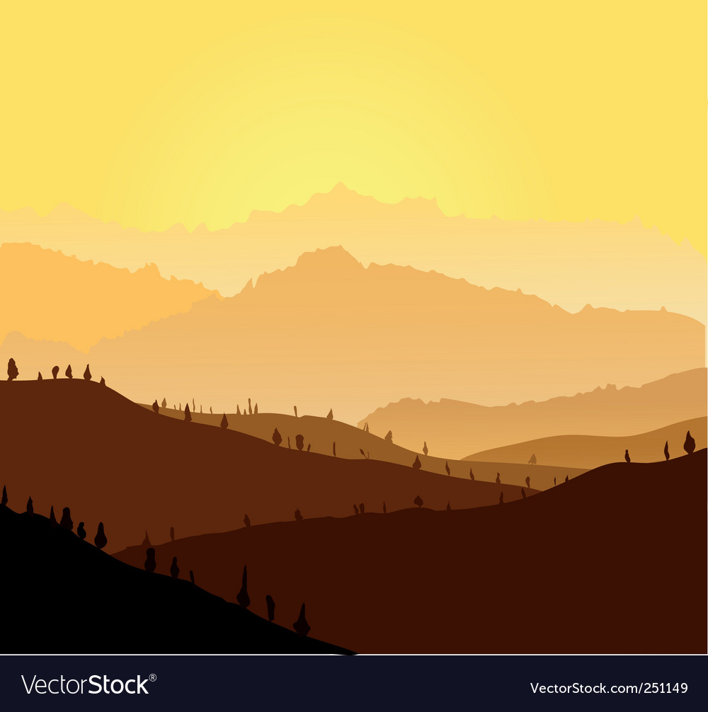Yellow mountains in a fog vector | Price: 1 Credit (USD $1)