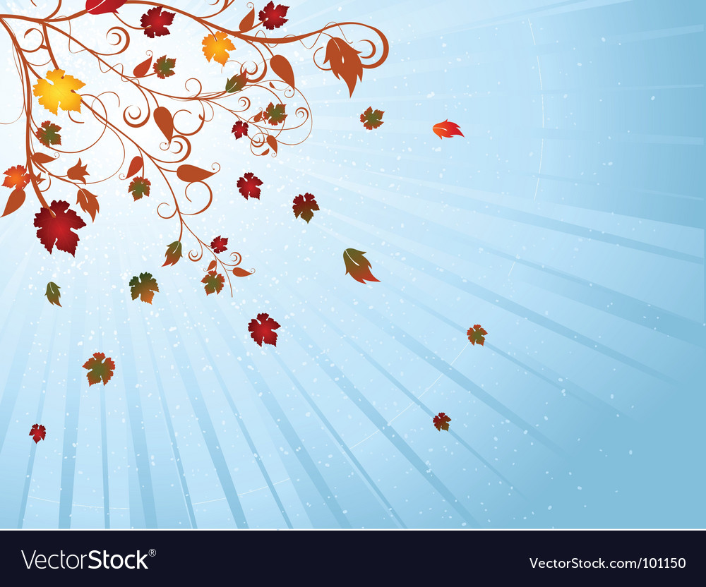Autumn tree and winter sky vector | Price: 1 Credit (USD $1)