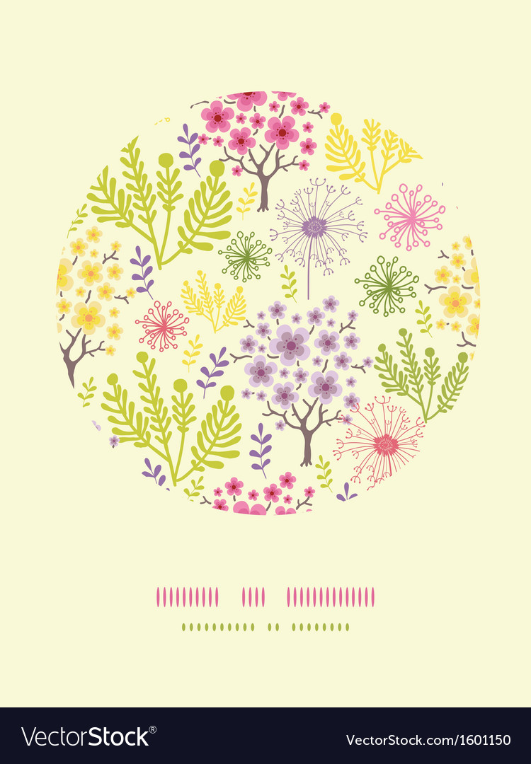 Blossoming trees circle decor pattern background vector | Price: 1 Credit (USD $1)