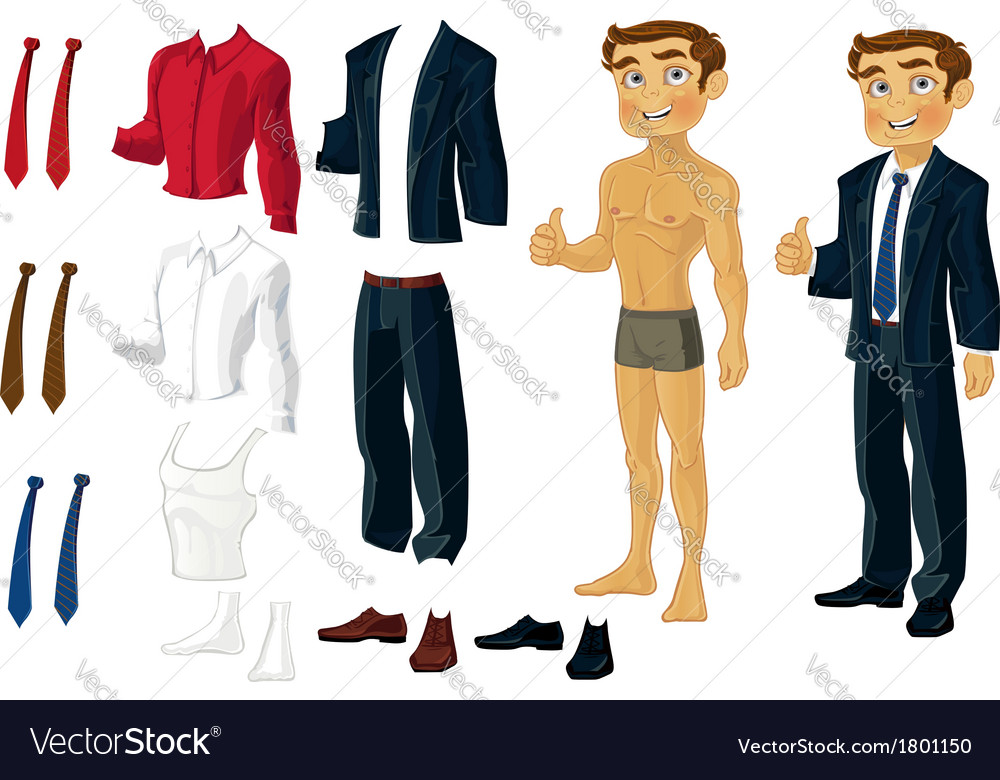 Businessman doll-dress with a set of business vector | Price: 3 Credit (USD $3)