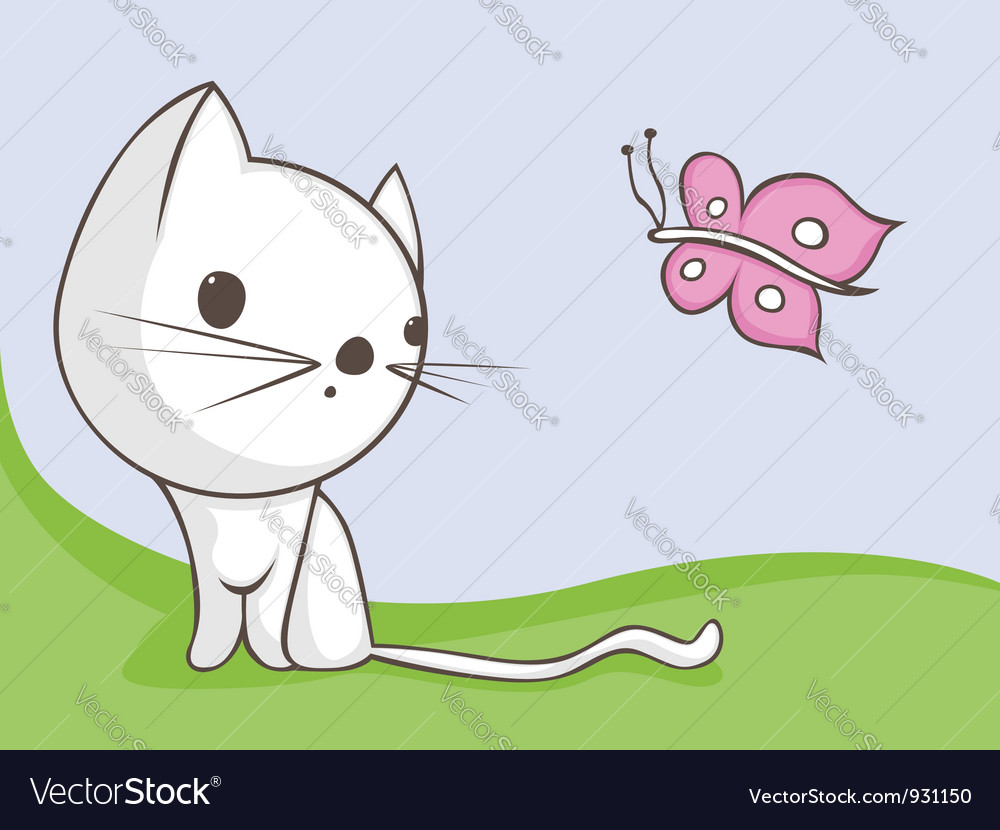 Cat with butterfly vector | Price: 3 Credit (USD $3)