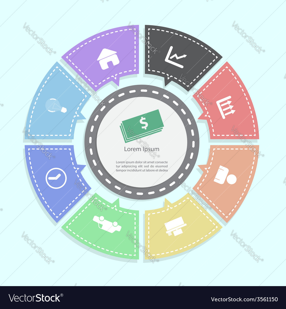 Circle business concepts infographics vector | Price: 1 Credit (USD $1)
