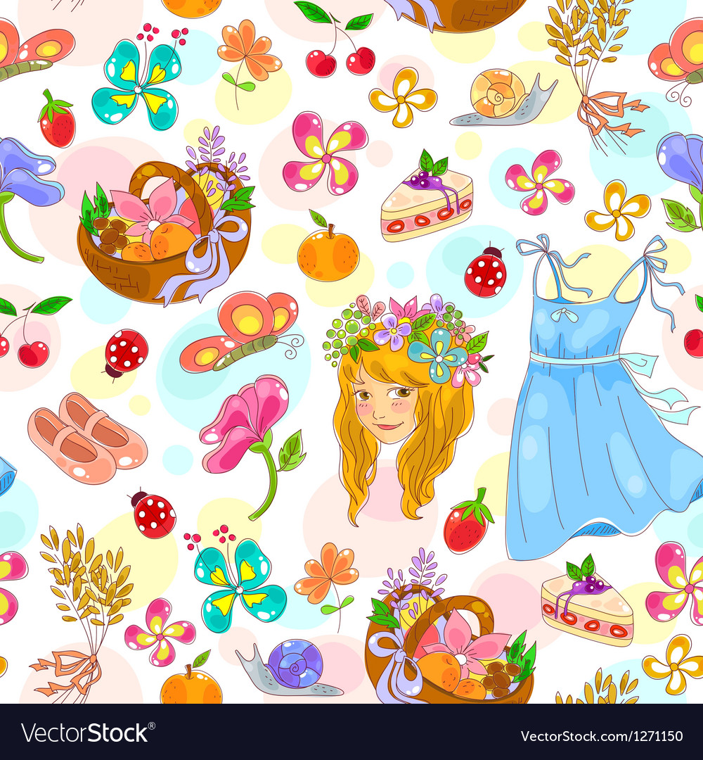 Early summer pattern vector | Price: 3 Credit (USD $3)