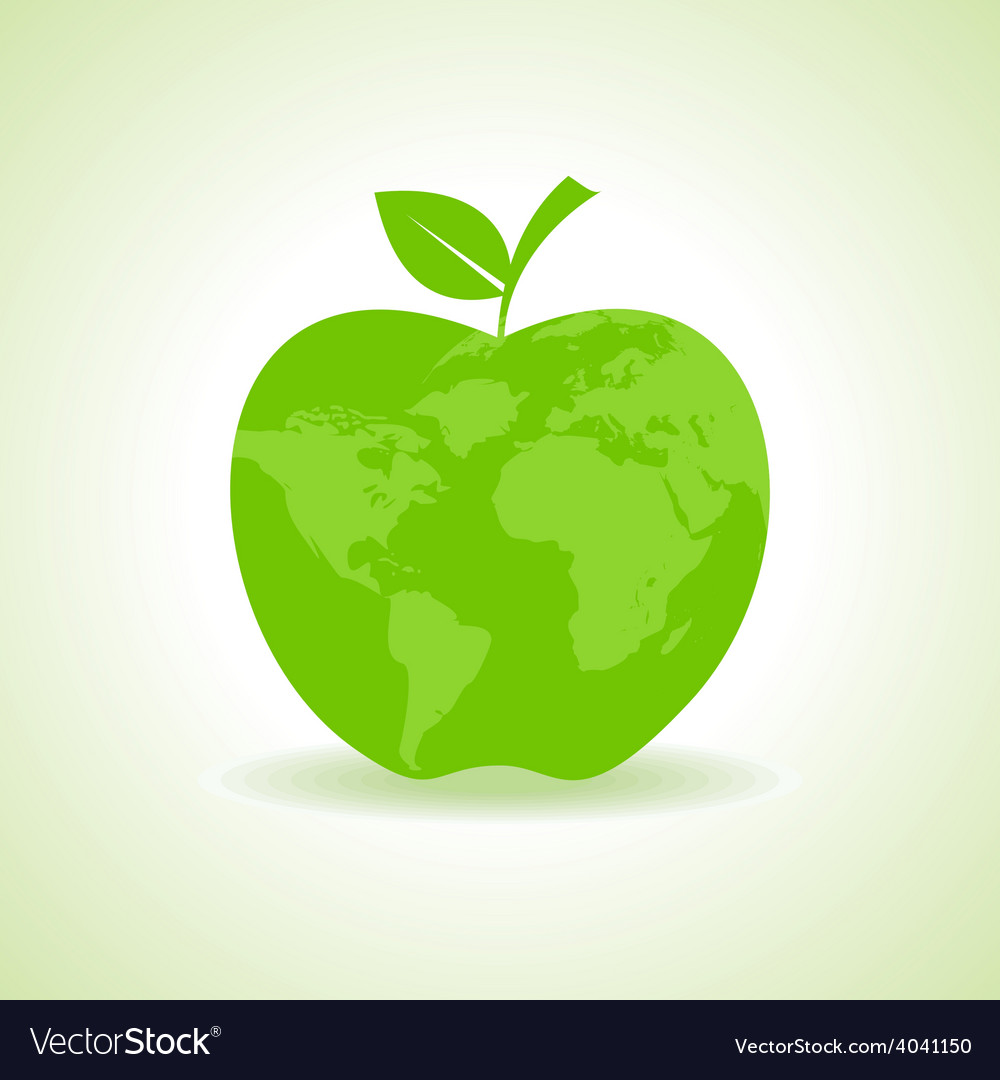 Eco apple icon with map stock vector