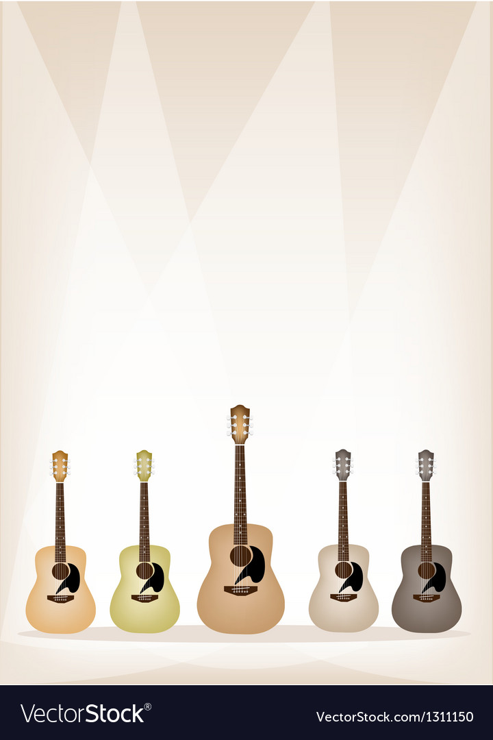 Five earth tone guitars on brown stage background vector | Price: 1 Credit (USD $1)