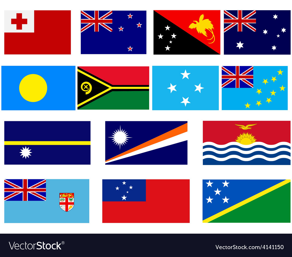 Flags of countries in oceania vector | Price: 1 Credit (USD $1)