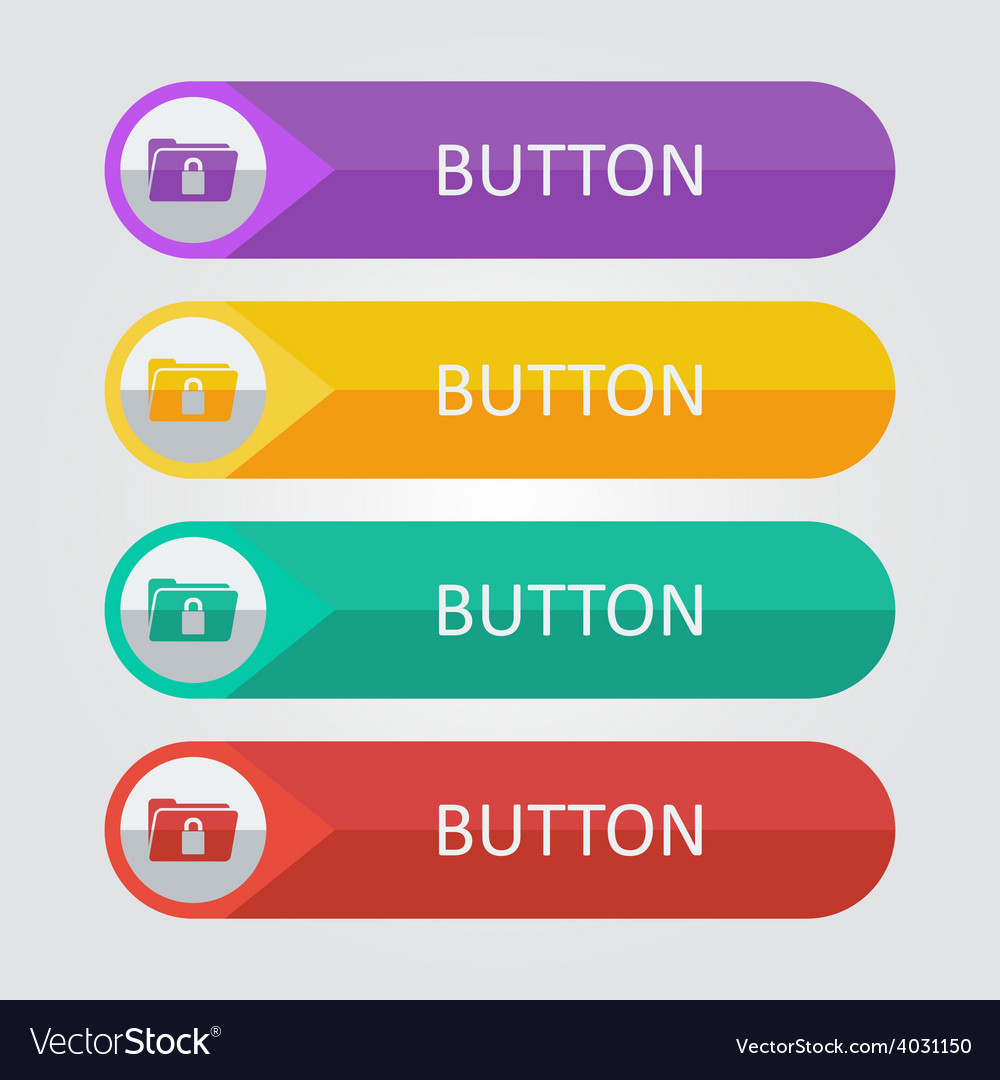 Flat buttons with folder lock icon vector | Price: 1 Credit (USD $1)