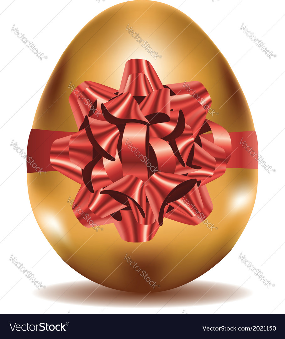 Golden egg with bow vector | Price: 1 Credit (USD $1)