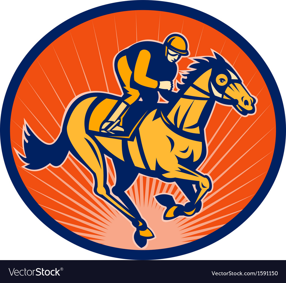 Horse and jockey racing on a winning run vector | Price: 1 Credit (USD $1)