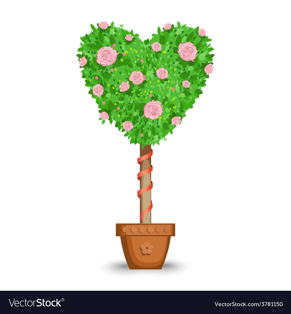 Love tree in a pot vector | Price: 1 Credit (USD $1)