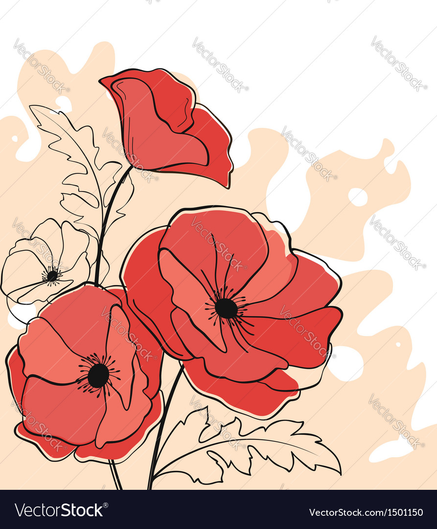 Red poppy flowers vector | Price: 1 Credit (USD $1)