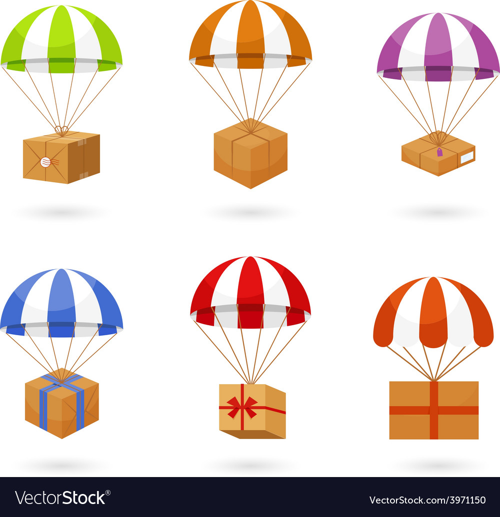 Set of colorful parachute carrying boxes vector | Price: 1 Credit (USD $1)