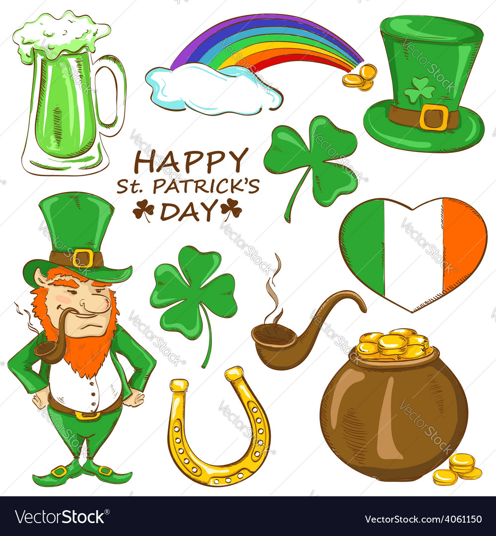 Set of st patricks day icons vector   Price: 1 Credit (USD $1)