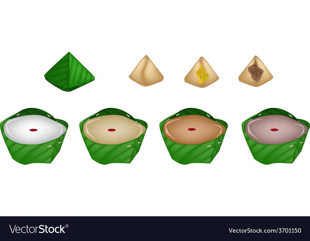 Set of stuffed dough pyramid dessert vector | Price: 1 Credit (USD $1)
