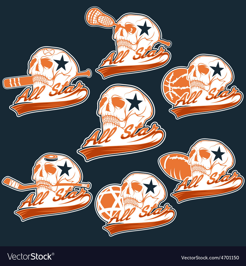 Set of vintage sports all star crests with skulls vector | Price: 1 Credit (USD $1)