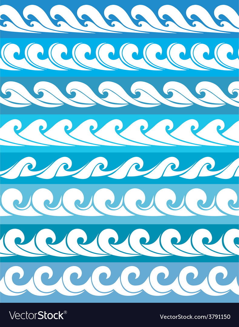 Set seamless waves vector | Price: 1 Credit (USD $1)