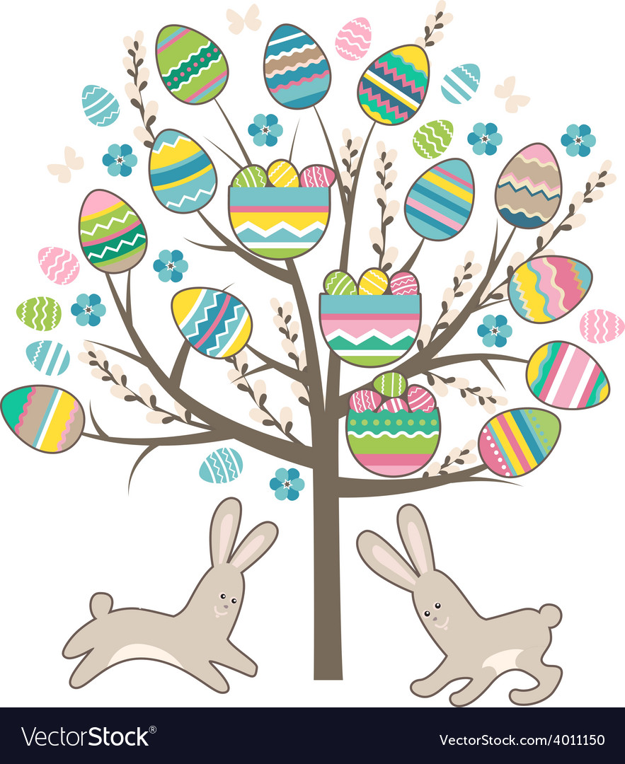 Stylized tree with rabbits isolated on white vector | Price: 1 Credit (USD $1)