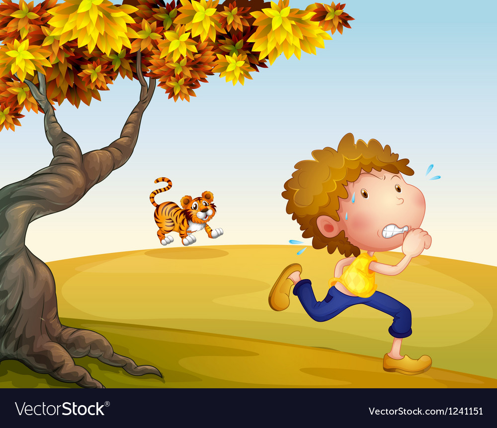 A boy running with a tiger at his back vector   Price: 1 Credit (USD $1)