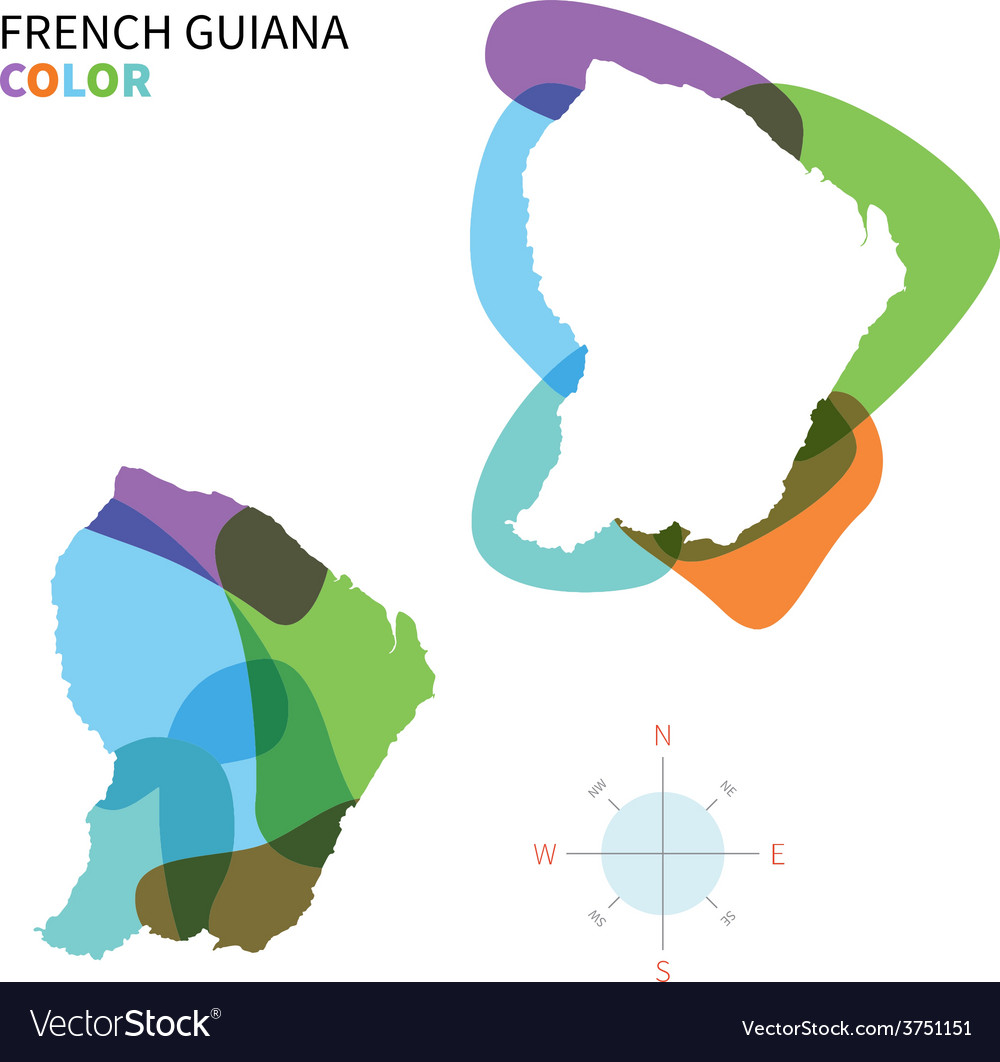 Abstract color map of french guiana vector | Price: 1 Credit (USD $1)