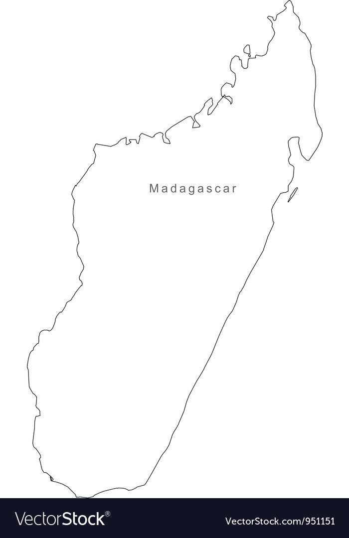 Black white madagascar outline map vector | Price: 1 Credit (USD $1)