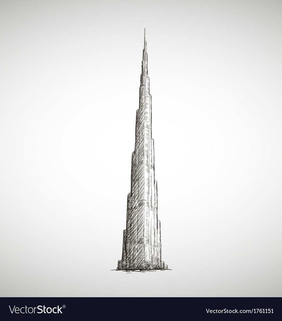 Burj khalifa drawing sketch style vector | Price: 1 Credit (USD $1)