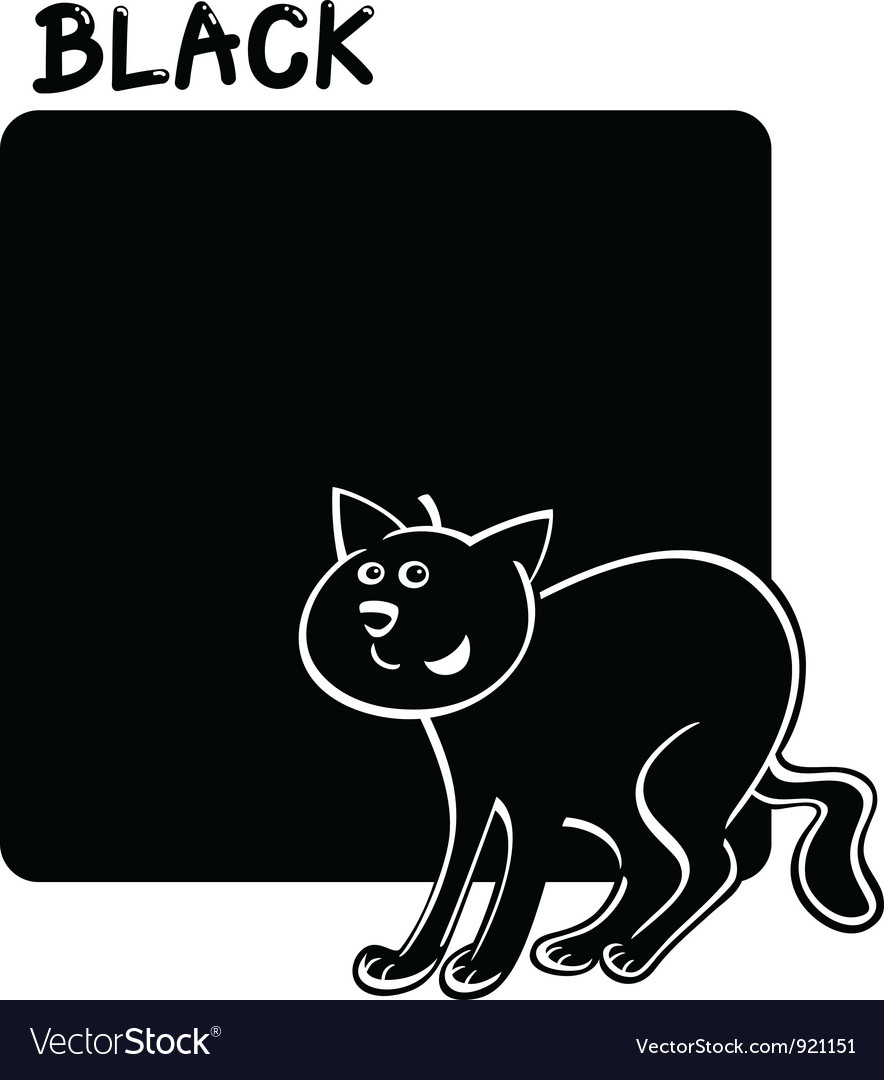 Color black and cat cartoon vector | Price: 1 Credit (USD $1)