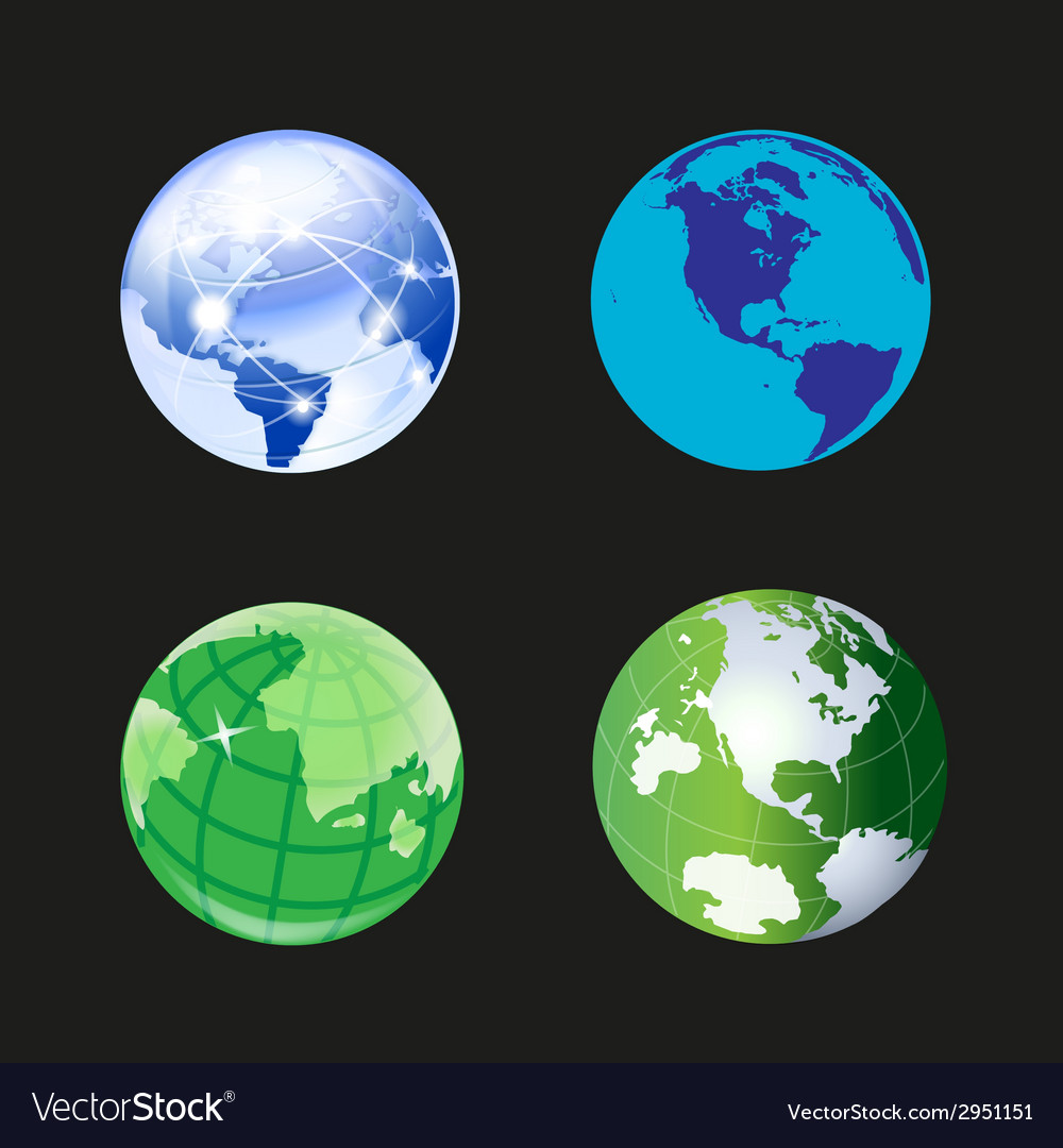 Globe world icon 3d set vector | Price: 1 Credit (USD $1)