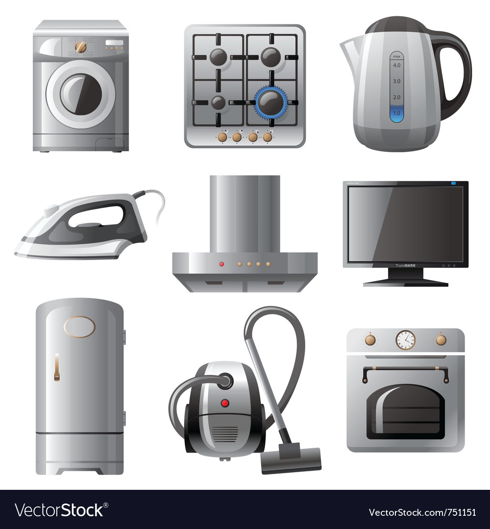 Household appliances icons set vector | Price: 3 Credit (USD $3)