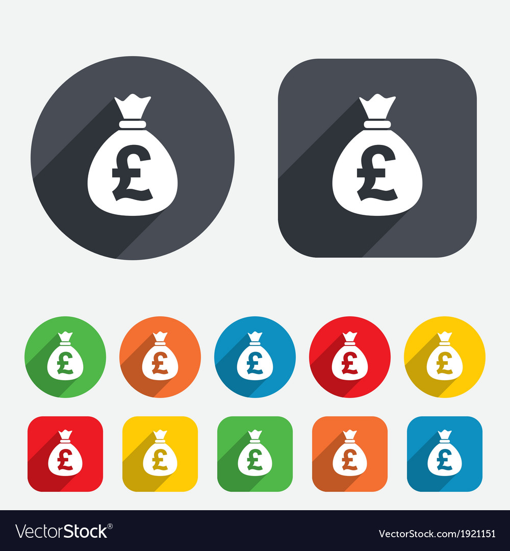 Money bag sign icon pound gbp currency vector | Price: 1 Credit (USD $1)