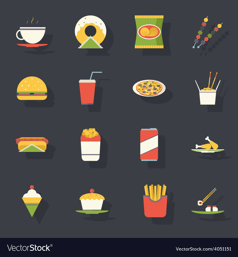 Retro flat fast food icons and symbols set vector | Price: 1 Credit (USD $1)