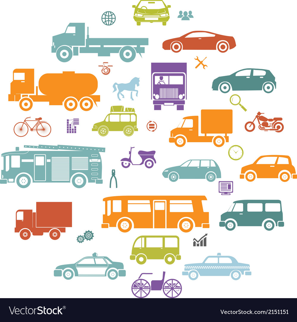 Round card with retro flat cars and vehicles vector | Price: 1 Credit (USD $1)