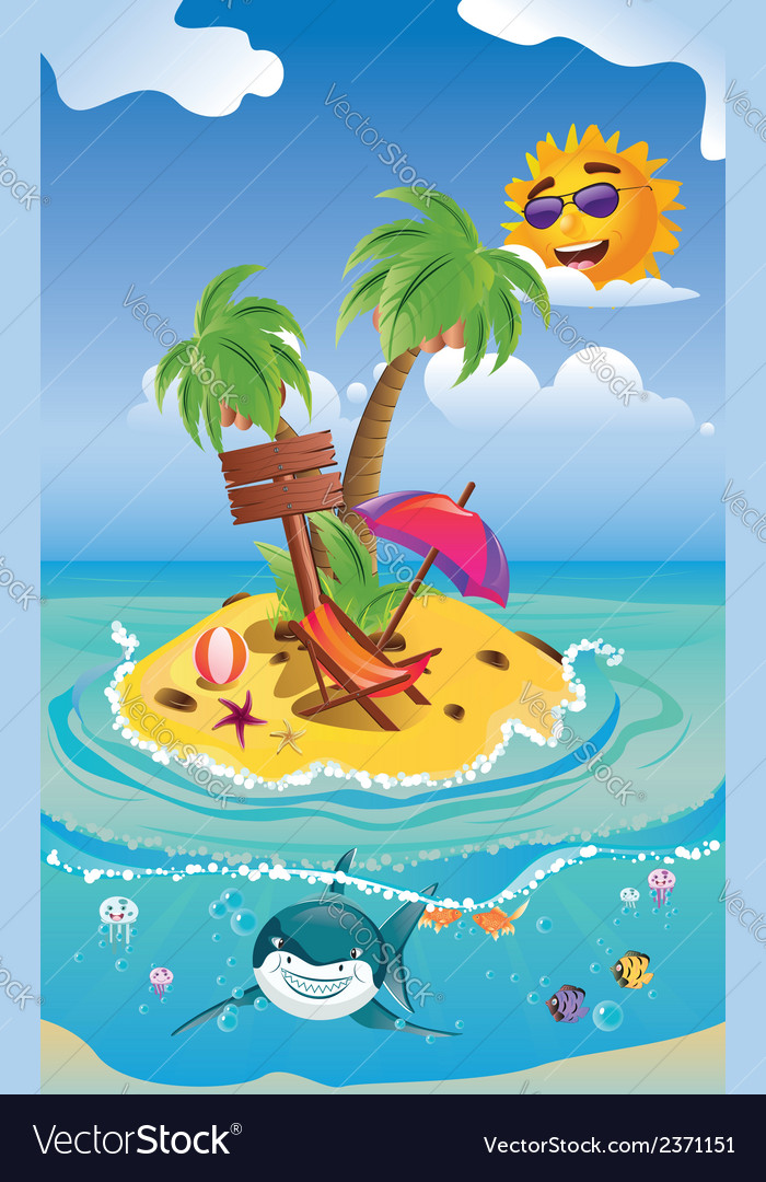 Shark and tropic island2 vector | Price: 3 Credit (USD $3)