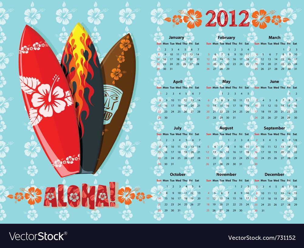 Aloha calendar 2012 vector | Price: 1 Credit (USD $1)