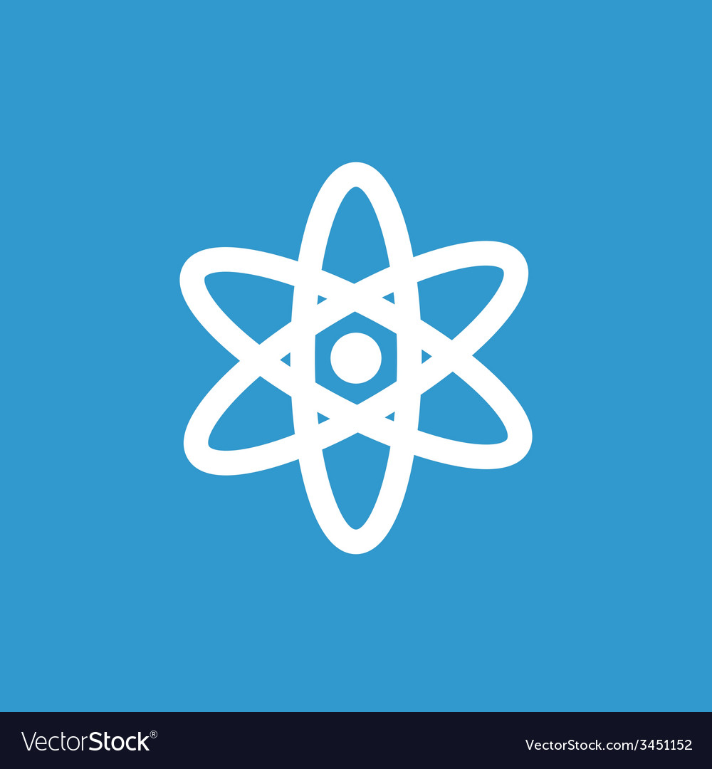 Atom icon white on the blue background vector | Price: 1 Credit (USD $1)