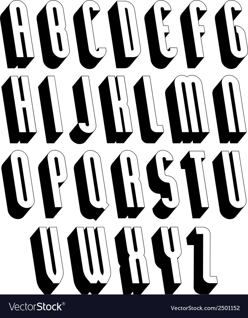 Black and white 3d font vector | Price: 1 Credit (USD $1)