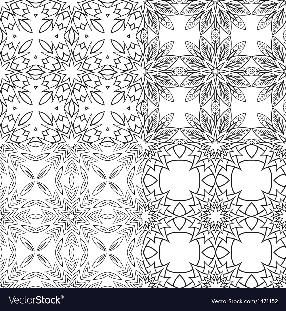 Black and white textile patterns set vector | Price: 1 Credit (USD $1)