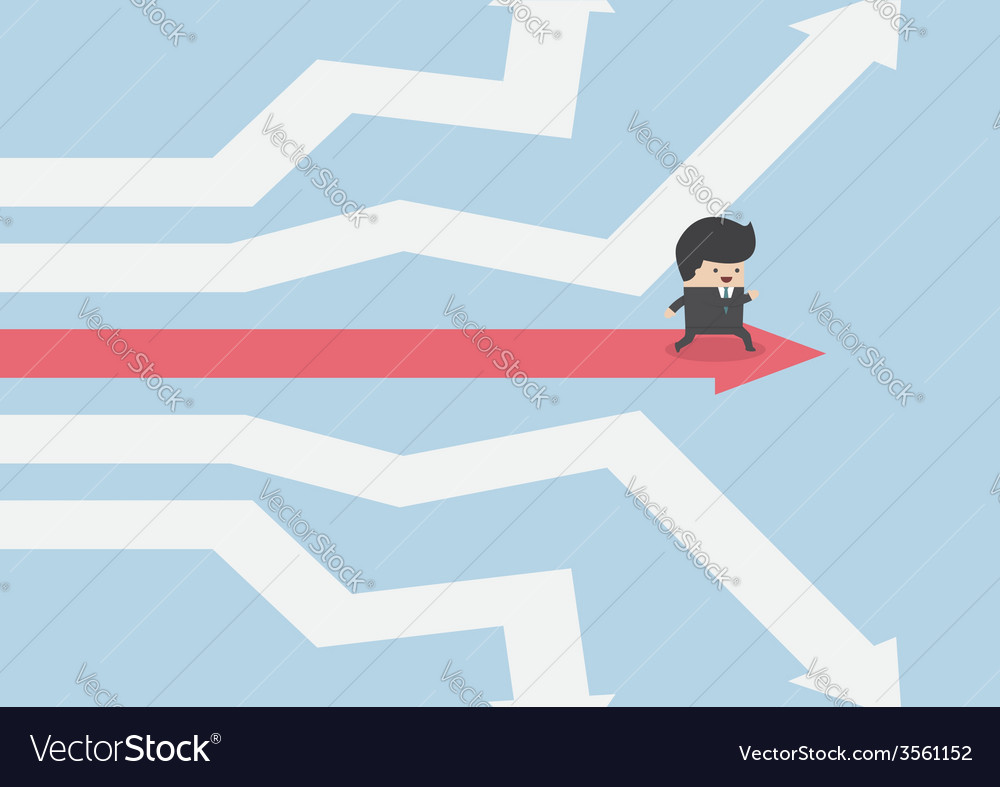 Businessman walking on the road of success vector | Price: 1 Credit (USD $1)