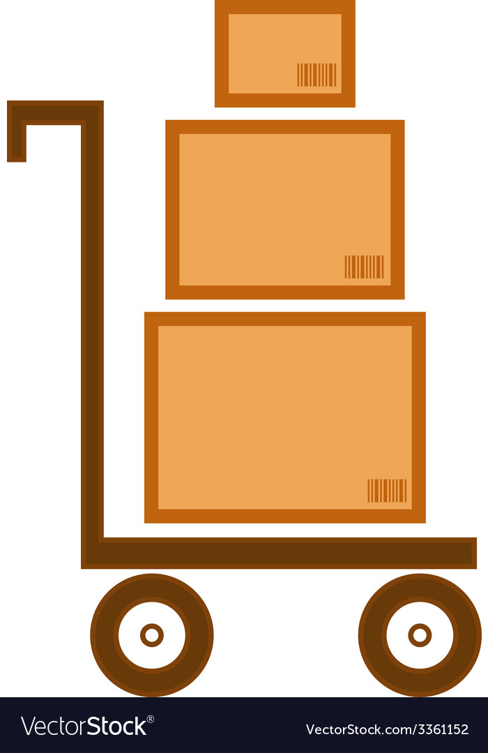 Cart with three boxes as delivery symbol vector | Price: 1 Credit (USD $1)
