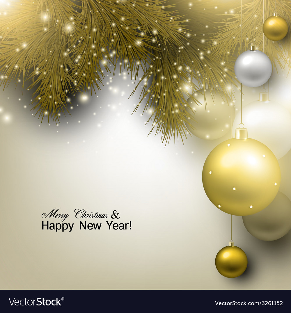 Christmas background with balls golden xmas vector | Price: 1 Credit (USD $1)